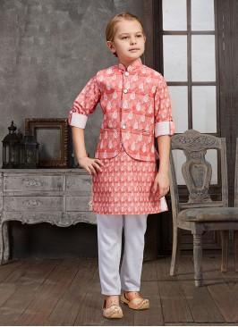 Wedding Wear Printed Nehru Jacket Set For Boys