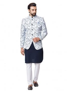 Wedding Wear Printed Nehru Jacket Suit