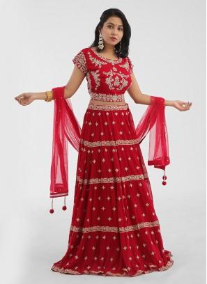 Wedding Wear Red Chiffon Choli Suit