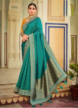 Wedding Wear Saree Green And Yellow Color