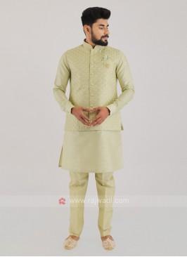Wedding Wear Silk Nehru Jacket Suit