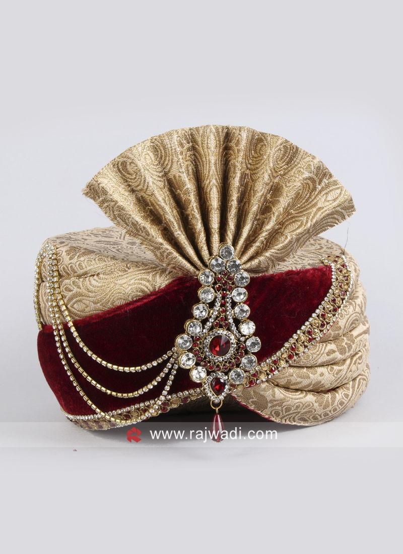 Wedding Wear Brocade Silk Safa With Fancy Broach