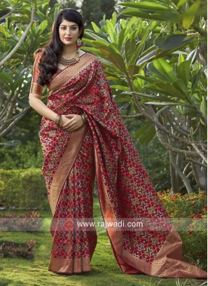 Wedding Weaving Saree in Maroon