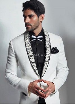 Wedding White Suit with Thread Work on Lapel