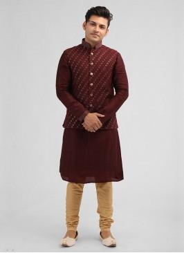 Wedding Wine Color Nehru Jacket Suit
