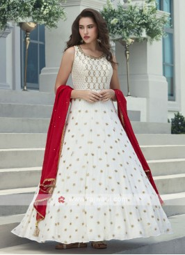 White Anarkali Suit For Wedding