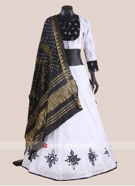 White and Black Printed Chaniya Choli