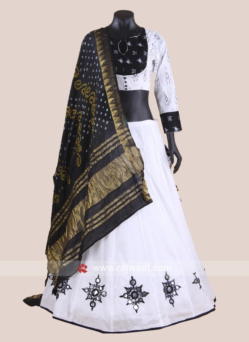 White and Black Printed Chaniya Choli