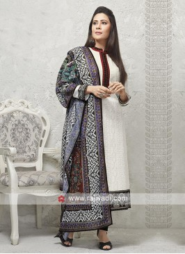 White and black salwar suit