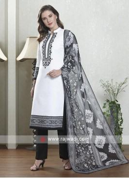 White and black salwar suit with dupatta