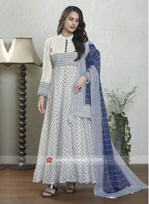 White and blue anarkali suit