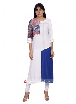 White and Blue Printed Kurti