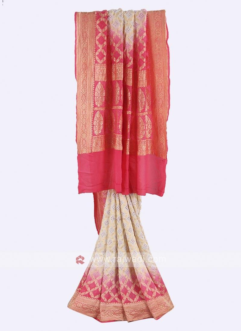 White and gajari pink chiffon saree
