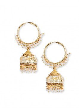 White And Golden Jhumka Hoop Earrings