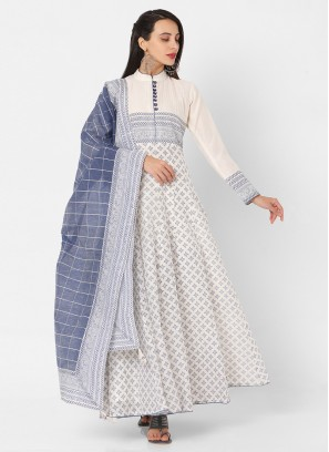 White And Light Blue Anarkali Suit