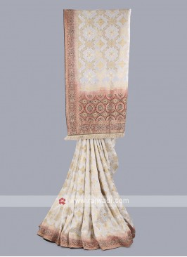 White and maroon banarasi silk saree
