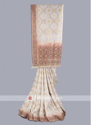 White and maroon banarasi silk saree