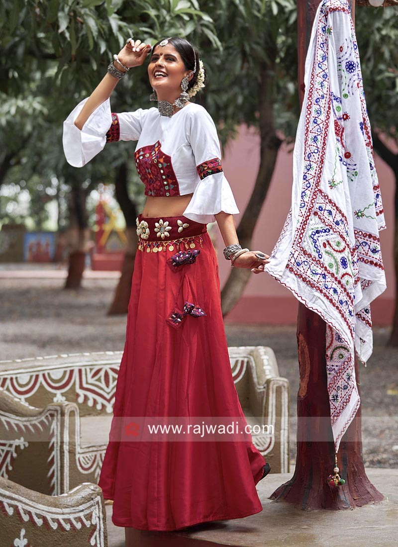 White and Maroon Chaniya Choli in Cotton