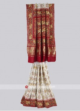 White and maroon color panetar saree