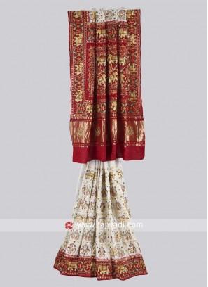 White and maroon color panetar saree