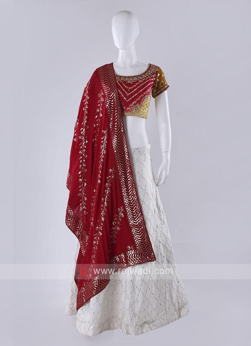 White And Multi Color Lehenga Choli