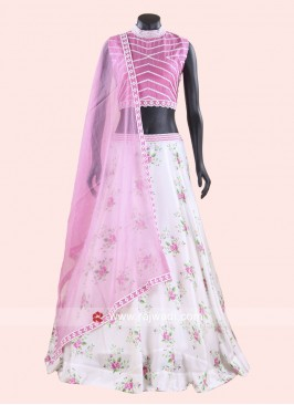 White and Pink Flower Print Choli Suit