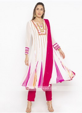 White And Pink Salwar Suit