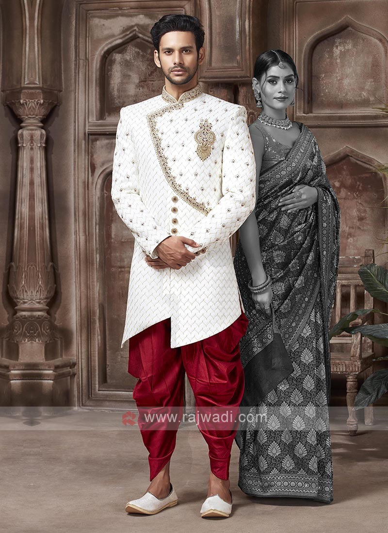 White And Red Colour Sherwani