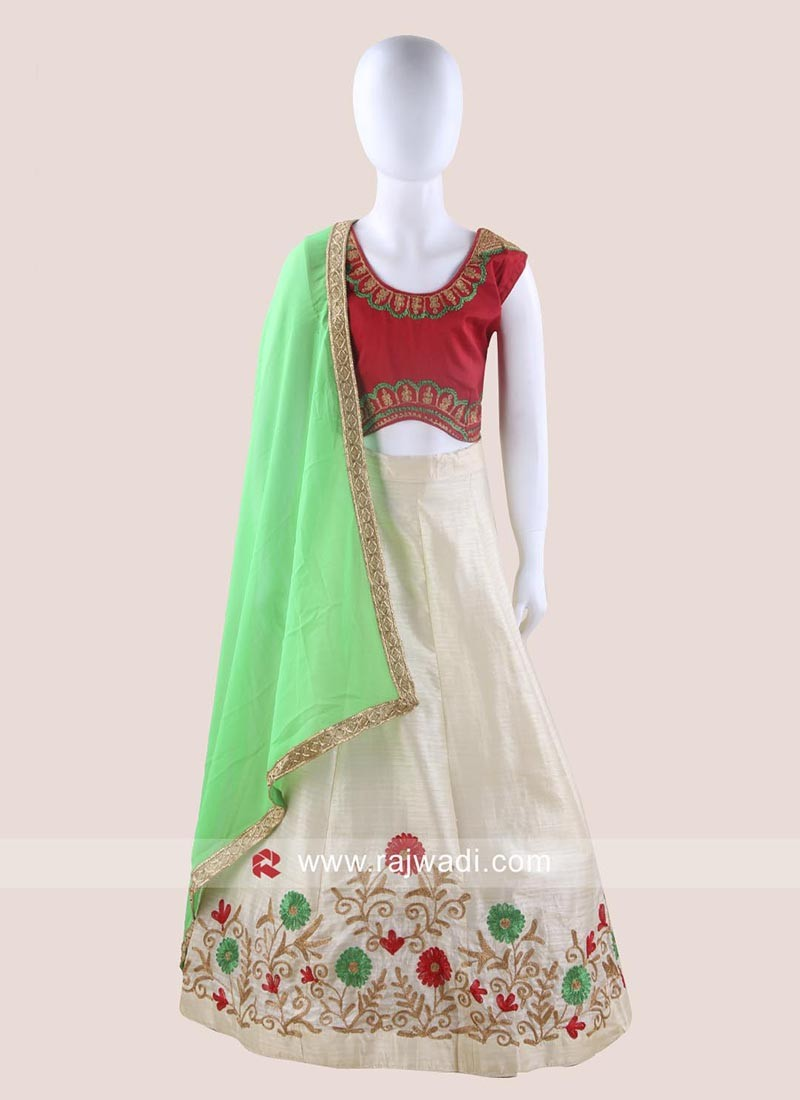 White and Red Kids Chaniya Choli