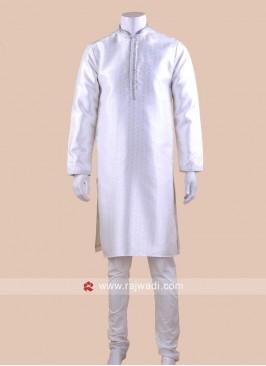 White Brocade Silk Kurta Pajama