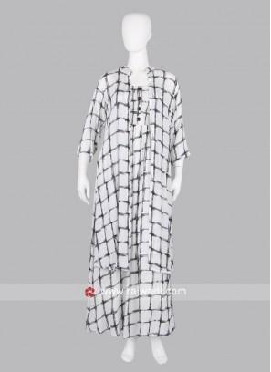 White Check Koti Style Maxi Dress