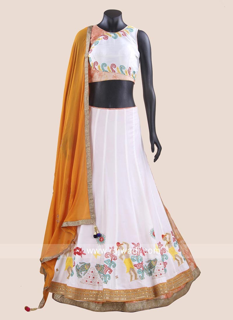 White Chiffon Silk Chaniya Choli