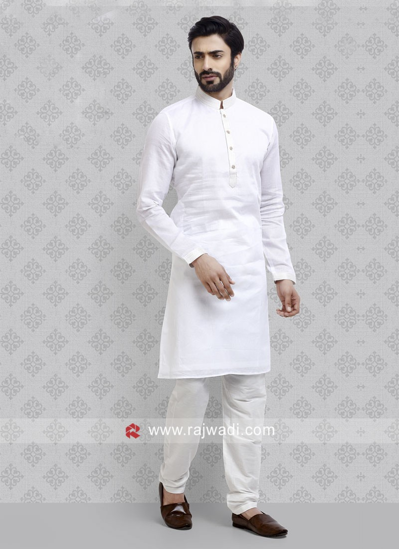 White Color Art Silk Fabric Kurta Pajama