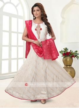 White Color Cotton Silk Anarkali Suit