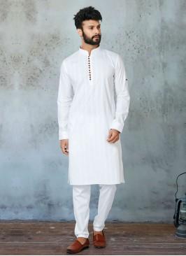 White Color Cotton Silk Kurta Pajama