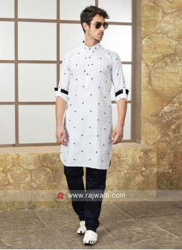 White Color Cotton Silk Kurta Set