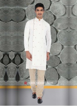 White Color Linen Kurta Pajama For Sangeet