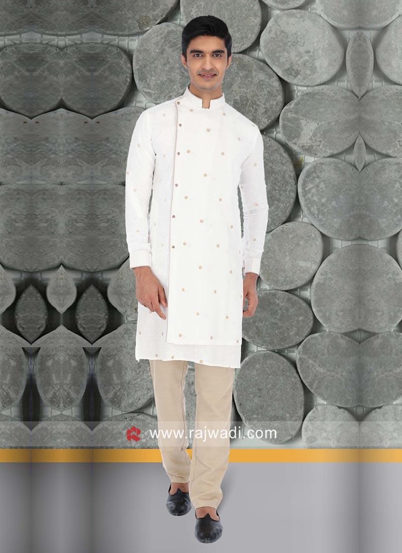 White Color Linen Kurta Pajama For Sangeet