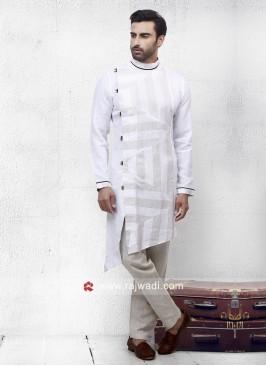 White Color Linen Pathani