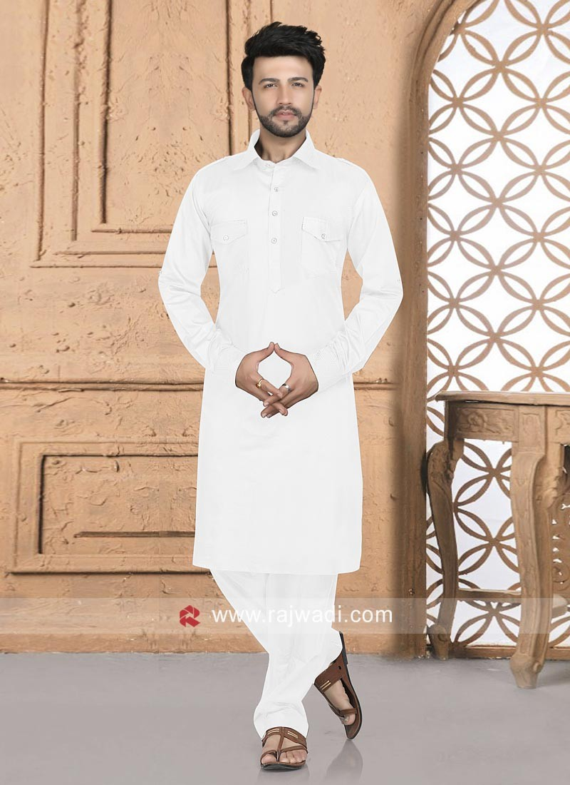 White Color Pathani For Eid