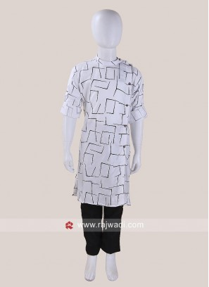 White Color Pathani Set For Boys