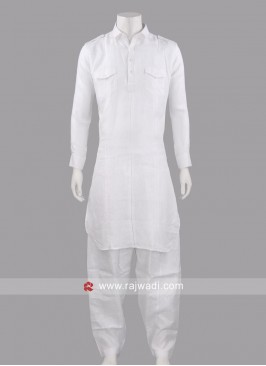 White Color Pathani Set For Eid