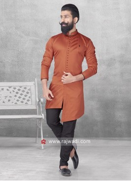 Orange Color Pathani With Black Bottom