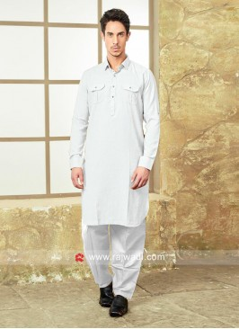 White Color Pathani With Matching Salwar