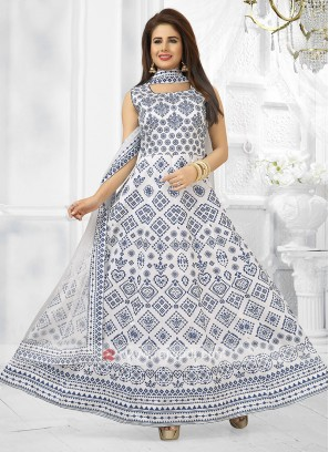 White Color Printed Anarkali Suit with dupatta