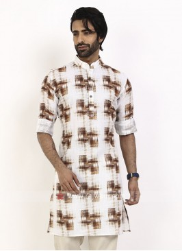 white color printed kurta