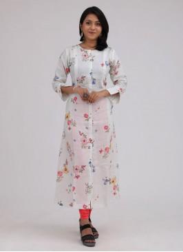 White Color Printed Soft Linen Kurti