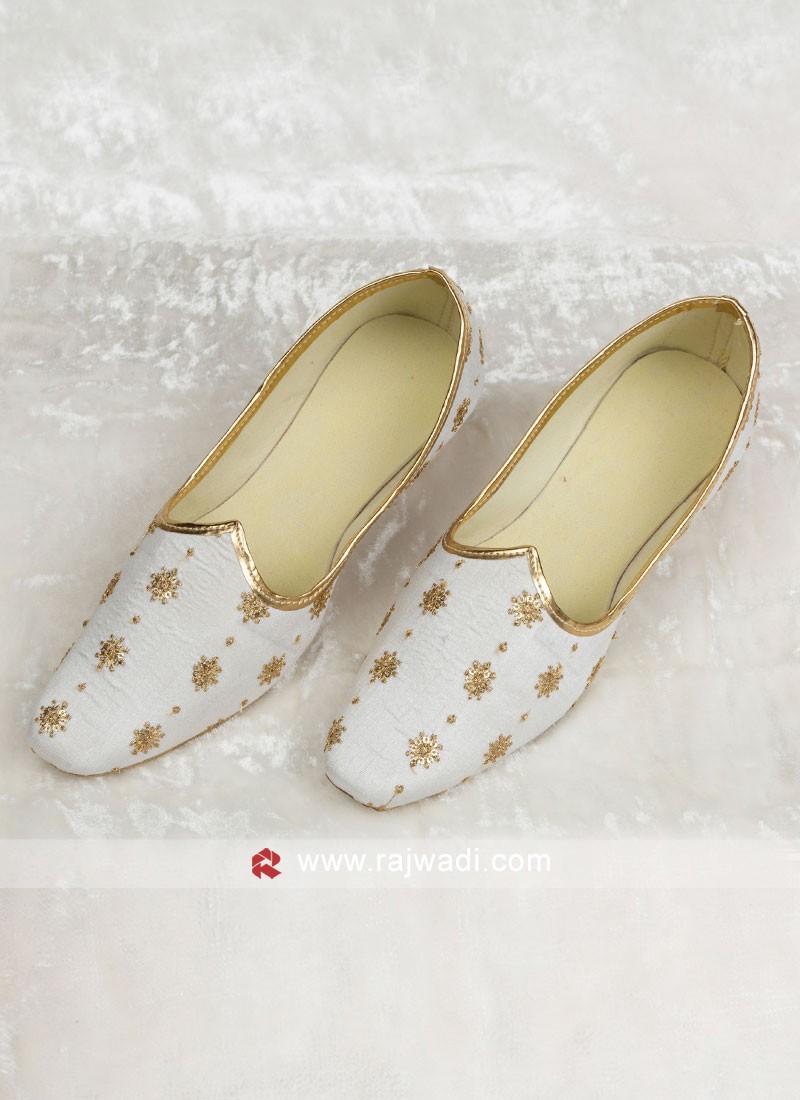 White Color Silk Mojari For Wedding