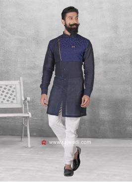 Navy Color Linen Pathani Set