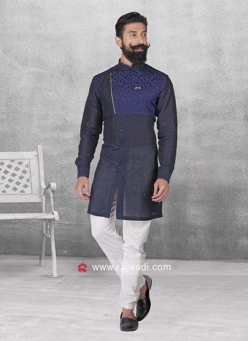 Navy Color Linen Pathani Set